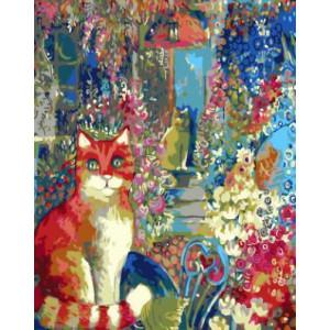 GХ4290 картина по номерам Рыжая кошка в углу картины 40х50 см
