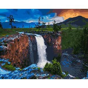 GХ4408 картина по номерам Водопад на равнине  40х50 см