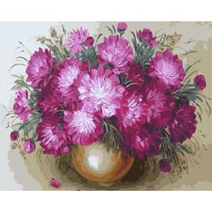 GХ4459 картина по номерам Розовые хризантемы  40х50 см