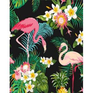 GХ4470 картина по номерам Два фламинго в цветах  40х50 см