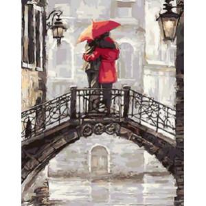GХ4472 картина по номерам Пара на мосту под красным зонтом 40х50 см