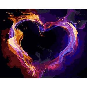 GХ4487 картина по номерам Неоновое сердце  40х50 см