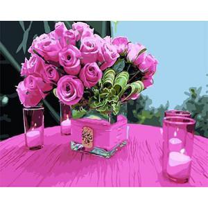 GХ4572 картины по номерам Розы в квадратной вазе и свечи 40х50 см