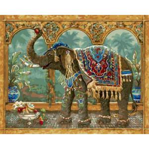 GХ4649 картины по номерам Слон с ковром на спине , 40х50 см