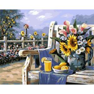 GХ4660 картины по номерам Букет в лейке и сок на скамейке  40х50 см