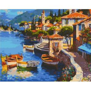 GХ4688 картина по номерам Пять лодок у набережной , 40х50 см
