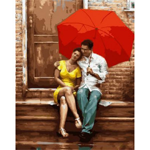 GХ4697 картина по номерам Пара под красным зонтом на крыльце , 40х50 см
