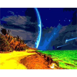 GХ4703 картина по номерам Зеленое море, желтый песок , 40х50 см