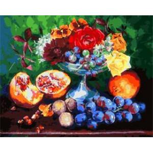 """GX5431 """"Гранаты, виноград, розы"""", 40х50 см"""