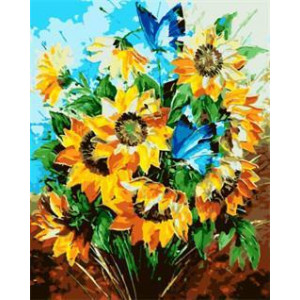 """GX5437 """"Подсолнухи и синие бабочки"""", 40х50 см"""