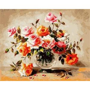 """GX5480 """"Персиковые и розовые розы"""", 40х50 см"""