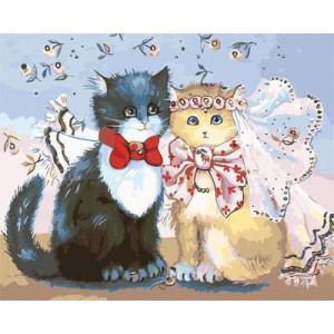GХ4125 картина по номерам Коты - жених и невеста 40х50 см