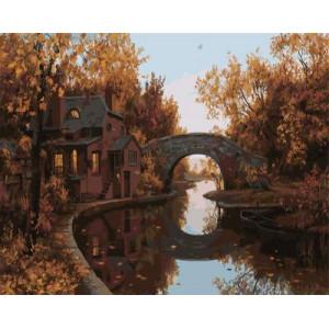 GХ4253 картина по номерам Домик, мост, речка 40х50 см