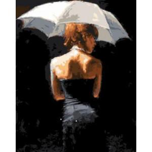 GХ4297 картина по номерам Девушка под белым зонтом на черном фоне 40х50 см
