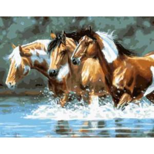 """GХ4404 картина по номерам """"Три пегих лошади идут по воде"""" , 40х50 см"""