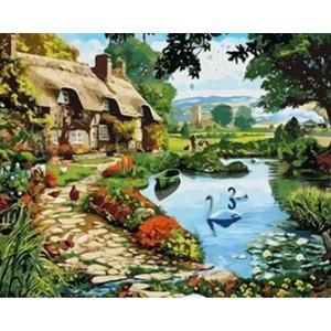 Q2287 Картина по номерам коттедж у озера 40x50
