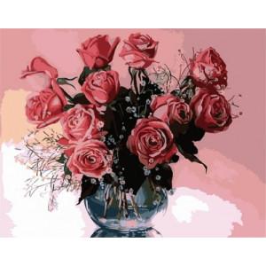 """GХ5135 """"Розы на розовом фоне"""", 40х50 см"""