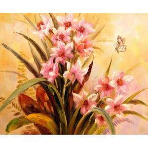 """GХ5168 """"Розовые цветы и две бабочки"""", 40х50 см"""