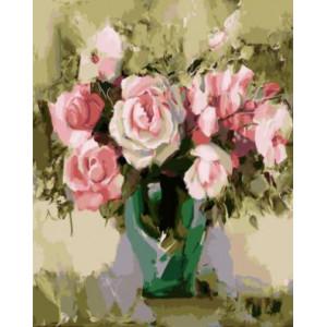 """GХ5249 """"Розы в зеленой вазе"""", 40х50 см"""