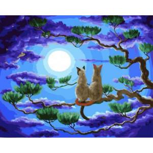 """GX5679 """"Два кота на ветке смотрят на луну"""", 40х50 см"""