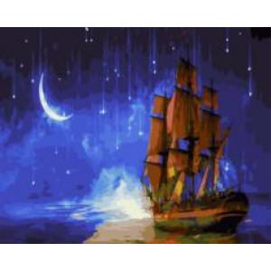 """GX21457 """"Бригантина на фоне звездного неба"""", 40х50 см"""