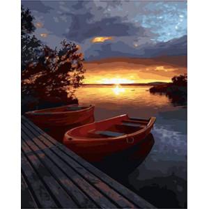 """GX21737 """"Две лодки у причала на закате"""", 40х50 см"""
