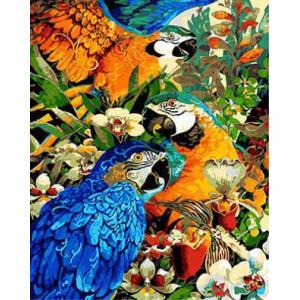 """GX21739 """"Попугаи в цветущем саду"""", 40х50 см"""