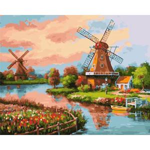 """GX21814""""Ветряные мельницы около реки"""", 40х50 см"""