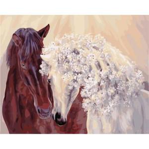 """GX21859 """"Конь и кучерявая лошадь"""", 40х50 см"""