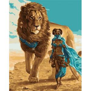 "GX22047 ""Девушка и лев"", 40х50 см"