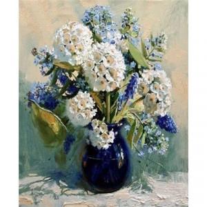 """GX4272 """"Белые и синие цветы в фиолетовой вазе"""", 40х50 см"""