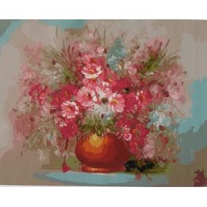"""GХ5056 """"Розовые цветы в коричневом горшке"""", 40х50 см"""
