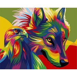 "GX21321 ""Радужные волчица и орел"", 40х50 см"