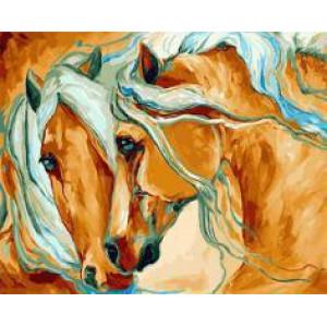 """GX21664 """"Рыжие лошади с голубыми гривами"""", 40х50 см"""