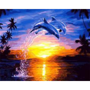 "GX21693 ""Два дельфина на закате"", 40х50 см"