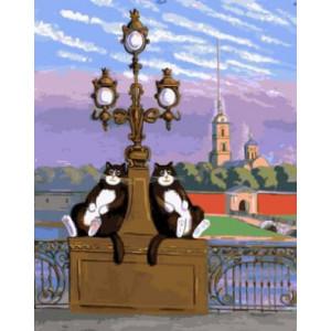 "GX21430 ""Два кота на фонаре"", 40х50 см"