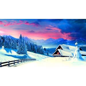 "GX22510 ""Закат над зимней деревней"", 40х50 см"