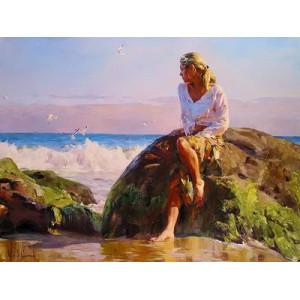 "GX22535 ""Девушка на камне на берегу моря"", 40х50 см"