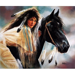"""GX22537 """"Индианка на вороном коне"""", 40х50 см"""