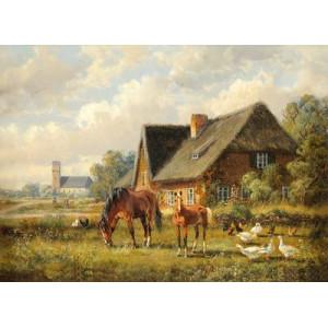 """GX22555 """"Две лошади, курицы, домик"""", 40х50 см"""