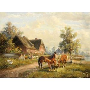 """GX22556 """"Три лошади, гуси, домик"""", 40х50 см"""