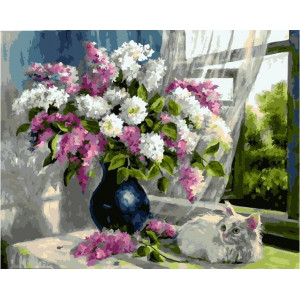 "GX22000 Картина по номерам ""Котенок и букет сирени"", 40х50 см"