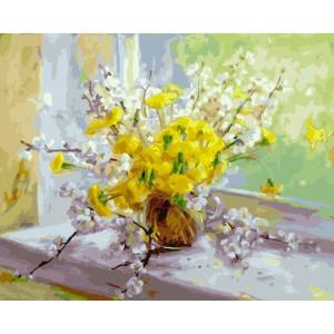 "GX22005 Картина по номерам ""Весенние цветы"", 40х50 см"