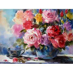 """GX5732 Картина по номерам """"Розы и чай"""", 40х50 см"""