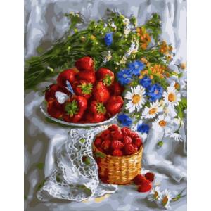 """GX5988 Картина по номерам """"Полевые цветы и ягоды"""", 40х50 см"""