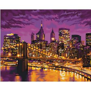 "GX22287 Картина по номерам ""Ночной мост"", 40х50 см"