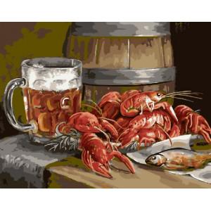 """GX22403 Картина по номерам """"Пиво и раки"""", 40х50 см"""