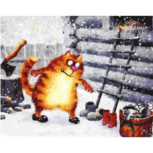 """GX22703 Картина по номерам """"Сельские заботы кота"""", 40х50 см"""
