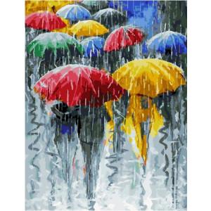 """GX22977 """"Люди под разноцветными зонтами"""", 40х50 см"""
