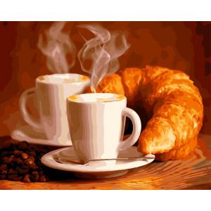"GX5740 Картина по номерам ""Кофе с круассаном"", 40х50 см"